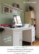 La mia craft room in verde e rosa